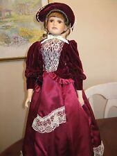 "26"" Victorian Porcelain Doll in Burgundy Dress with Stand"
