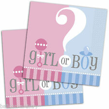 20 Boy Or Girl Baby Shower Gender Reveal Party 33cm Disposable Paper Napkins