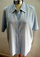 VINTAGE SHIRT.BLOUSE.BLUE. EMBROIDERY.SIZE 12. MOTHER OF PEARL BUTTONS.