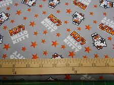 "1 Yard Hello Kitty ""I Love Kiss"" on Grey Fabric"