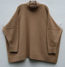 Eskandar Camel Heavy Weight Handloomed Cashmere Funnel Neck Sweater O/S $2490