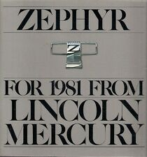 Mercury Zephyr 1981 USA Market Sales Brochure Sedan GS Z-7 Wagon Villager
