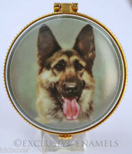 Alastor Enamels Alsatian Dog Round Hinged China Trinket Box