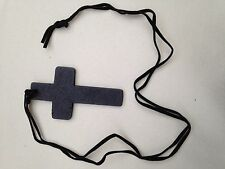Gothic Style LARGE Wooden Cross Necklace Pendant with Leather Neck Strap