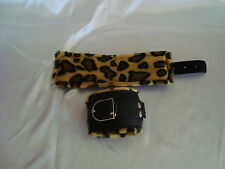Leopard Print Leather Padded Black Play Role Handcuffs Cuffs Restraints (243)