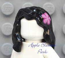 NEW Lego Female Girl Minifig BLACK HAIR w/Pink Flower - Long Shoulder Head Gear