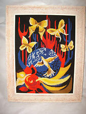 1970s Modern art tapestry 47 x 35cm framed