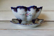 Royal cobalt blue Nippon hand painted flowers berry strainer with underplate