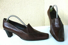 ESCARPINS MOCASSINS HEYRAUD CUIR MARRON CHOCOLAT - T 37 / 38 - TBE