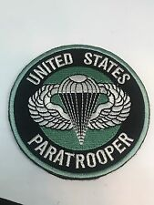 Airborne Paratrooper Parachute Embroider Hk/Lp Round Patch GREEN 82nd 101st HALO