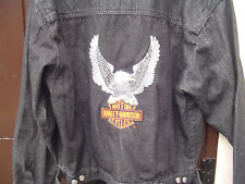 Harley Davidson Black Denim Jacket with Eagle XL/20