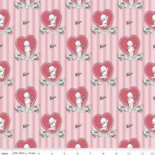 Riley Blake Kewpie Love C5821 Pink Kewpie on Stripe Cotton Fabric BTY