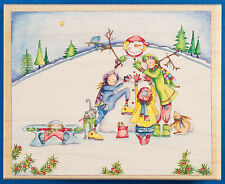 Love That Snowman Rubber Stamp by Stamps Happen Snow Winter Scene w/ Kids & Cat