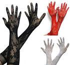 Auswahl Rot, schwarz oder weiß Sexy Damen Spitzenhandschuhe 35cm Lang