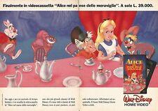X1451 Alice nel paese delle meraviglie - Vhs Disney - Pubblicità del 1990 - Ad