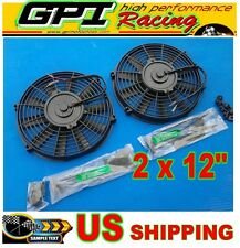 "2 × 12"" inch Universal Electric Radiator RACING COOLING Fan + mounting kit"