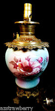 Antique Victorian Blue Pink painted glass brass parlor table oil electric lamp