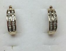 1/2 Ct Natural (REAL) DIAMOND Hoop Earrings Solid yellow gold