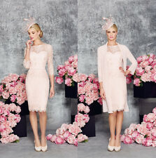 Light Pink Knee Length Mother Of the Bride Dress With Jacket Lace Chiffon Gowns