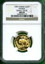 CHINA  PANDA 1997  NGC MS 69 1/4 oz  GOLD  SMALL DATE  PANDA - RED HOT