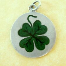 Vintage Antique Charm Austrian Silver Enamel Lucky Clover Large and Lovely!
