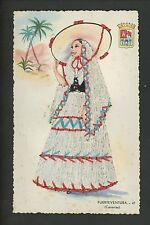 Embroidered clothing postcard Artist Elsi Gumier, Spain Canary Islands woman #47