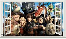 Dragons Night Fury Toothless Characters 3D Window Wall Decals Kids Decor Sticker