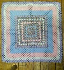 CROCHET BABY blanket afghan wrap handmade GRANNY SQUARE blue pink white purple