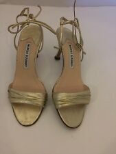 MANOLO BLAHNIK GOLD METALLIC LEATHER RUCHED VAMP TIE UP SANDALS SZ 6.5