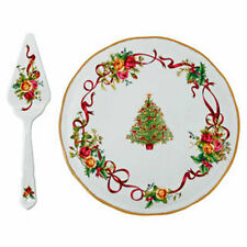 Royal Albert Old Country Roses Christmas Tree CAKE PLATE & SERVER - NEW/ Boxed