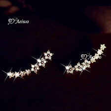 925 SILVER CUTE SWAROVSKI CRYSTAL STAR FLOWER  STUD EARRINGS