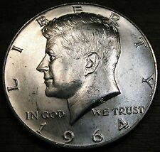 1964 D Kennedy Half Dollar Denver Minted Brilliant Uncirculated Coin From Roll