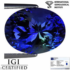 7.23 Ct IGI Certified AAA Natural D Block Tanzanite Violet Green Oval Cut