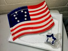 USA American FLAG CERAMIC SERVING Platter Dip Plate Dish Kitchen Worthy Star