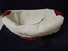 Nice Large RED Wicker Basket with Cream Cloth 16x12