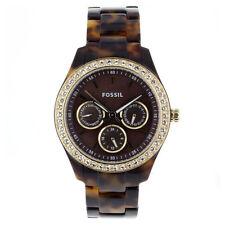 FOSSIL Uhr ES2795 STELLA Damen Kunststoff Braun Schildpatt Armbanduhr mit Strass