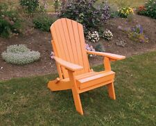 Poly Lumber Wood Folding and Reclining Adirondack Chair *TANGERINE ORANGE COLOR*
