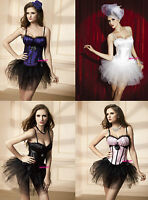 Sexy Burlesque Corset Basque With Shoulder Straps & Skirt Tutu Halloween Outfit