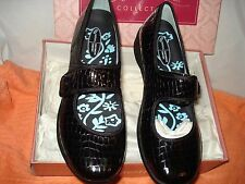 AETREX BLACK LUCY MARY JANE LOAFERS CROC EMBOSSED PATENT LEATHER NIB SUPER SALE