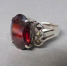 Schöner Art Deco Ring, Silber 925, roter Stein, Markasit, Grösse 49 - 50,