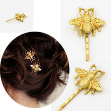 3PCS Gold Metal Hair Clips Hairpin Ornament Yellow Bee Shape Creative Gifts