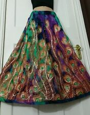 Peacock Boho Tie Dye Sequin Skirt Hippie Party Gypsy Festival GREEN/BLU/PURPLE