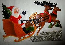 WEIHNACHTSMANN AUF SCHLITTEN Santa Claus  Weihnacht Fensterbild geprägte Pappe