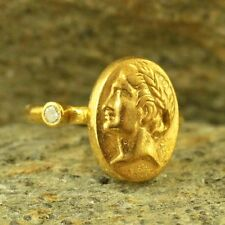 Handmade Hammered Designer Replica Roman Coin Ring Gold Over Sterling Silver