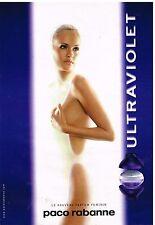 """Publicité Advertising 1999 Parfum """"Ultraviolet"""" Paco rabanne"""