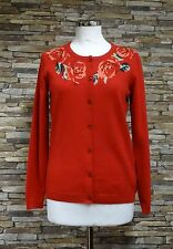 Tulchan Ladies Red Long Sleeved Cardigan with Rose Design Size M (12-14) New