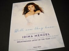 IDINA MENZEL Well...Now They Know PROMO POSTER AD in mint condition