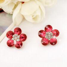 New 18K Rose Gold Filled Women's Girls SWAROVSKI Crystal Flower Stud Earrings