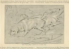 ANTIQUE HUNTING DOGS NAIVE SKETCH OF SETTER DOGS SCENTING HUNTING OLD ART PRINT