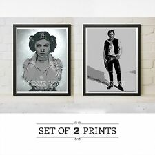 Star Wars Movie Han Solo Princess Leia Poster Print Love You Carrie Fisher Gift